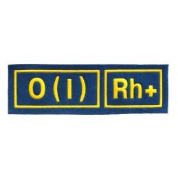 Naszywka 0 (I) Rh+ niebieska z żółtym