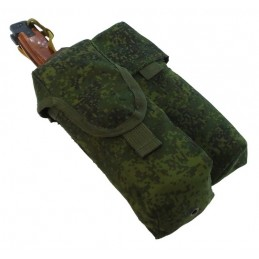 TI-P-2AK-SSL Pouch for 2 AK magazines, smoke grenade and knife, left, Digital Flora