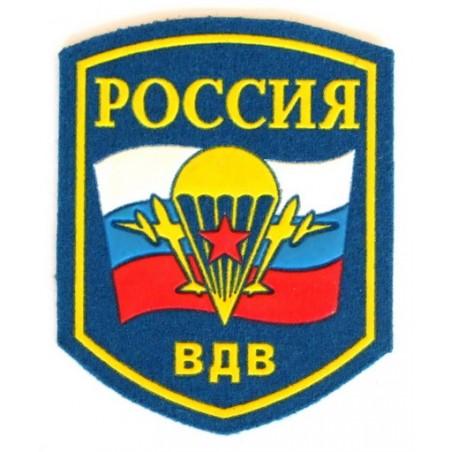 """Naszywka """"Rosja - WDW"""" błękitna z flagą i symbolem"""