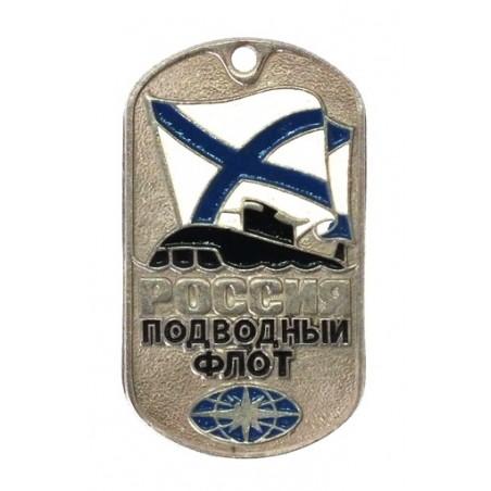 Steel dog-tags - Submarine Fleet, with flag and submarine, enamel
