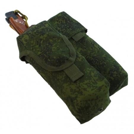 TI-P-2AK-SSL Ładownica na 2 magazynki AK, świecę dymną i nóż, lewa, Cyfrowa Flora