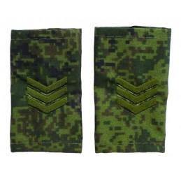 """Epaulets for sergeant, camouflage Digital Flora, """"V"""" version"""