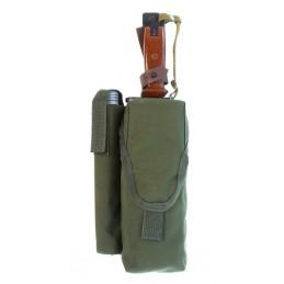 TI-P-2AK-ROPNP Ładownica na 2 magazynki AK, flarę i nóż, prawa, OLIWA