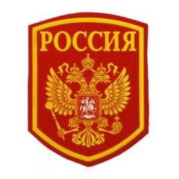 """Naszywka """"Rosja"""" herb na czerwonym tle"""