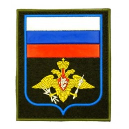 """Naszywka """"Rosja - Wojska Kosmiczne"""", PVC, z rzepem, oliwkowe tło, PR300"""