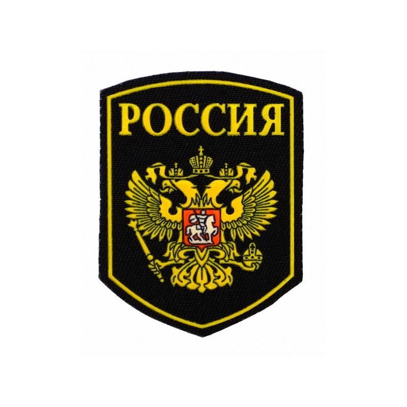 """Naszywka """"Rosja"""" herb na czarnym tle"""