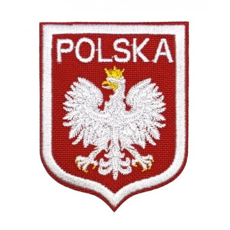 Poland with white eagle - patch with thermotransfer