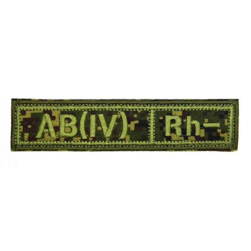"Stripe with the blood type ""AB(IV) -"", with velcro, Digital Flora, PR300"