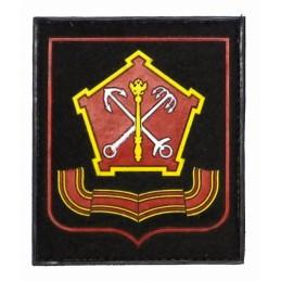 """Naszywka """"Północno-Zachodni Okręg Wojskowy"""", PVC, z rzepem, czarne tło, czerwony kant, PR300"""
