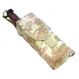 TI-P-2AK-ROPNL Pouch for 2 AK magazines, signal flare and knife, left, Digital Beige (Syria)