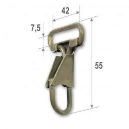 Snap hook, olive, 40 mm