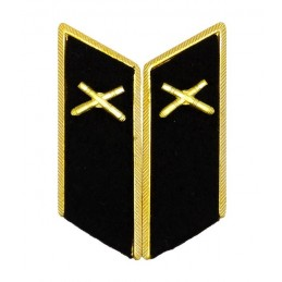 Collar tabs of Artillery for official uniforms with tabs