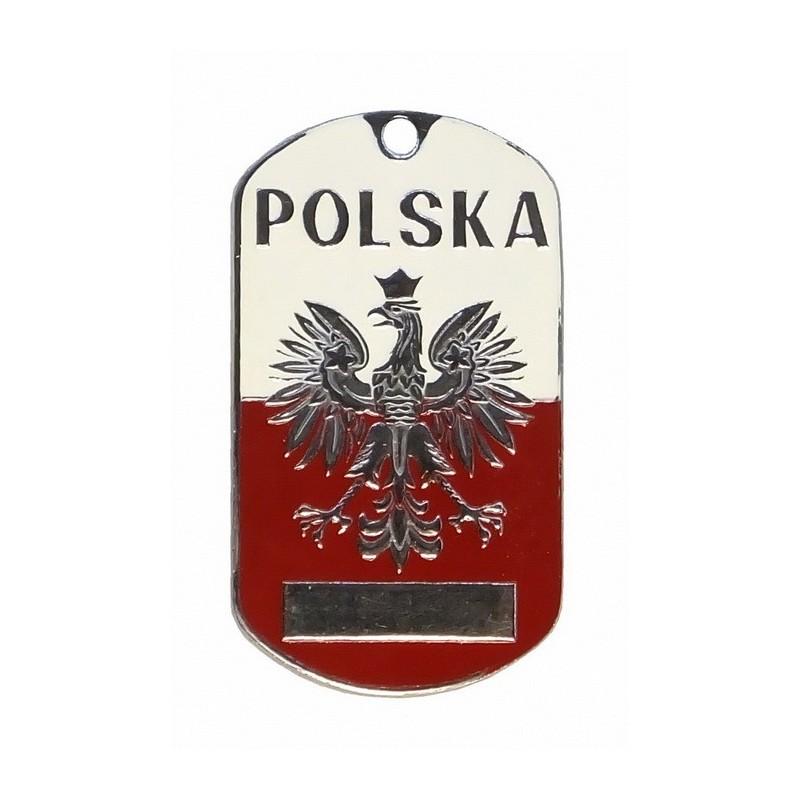 """Stalowy nieśmiertelnik """"Polska"""", emaliowany"""