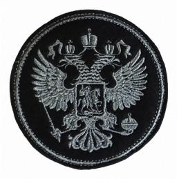 """Naszywka """"Godło"""", szary haft, okrągła, z rzepem"""