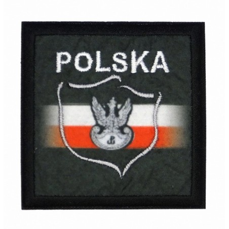 Poland with flag and eagle - patch with thermotransfer