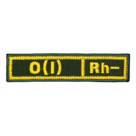 """Naszywka na pierś - grupa krwi """"0(I) Rh-"""", z rzepem, oliwa RipStop"""