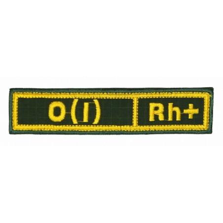 """Naszywka na pierś - grupa krwi """"0(I) Rh+"""", z rzepem, oliwa RipStop"""