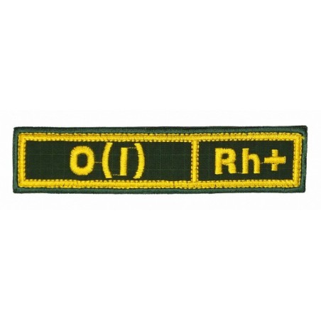 """Stripe with the blood type """"0(I) Rh+"""", with velcro, Olive RipStop"""