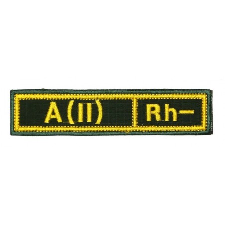 "Stripe with the blood type ""A(II) Rh-"", with velcro, Olive RipStop"