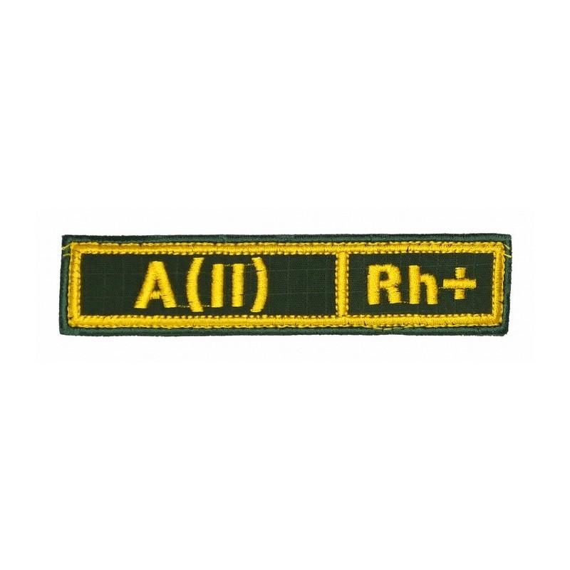 """Naszywka na pierś - grupa krwi """"A(II) Rh+"""", z rzepem, oliwa RipStop"""