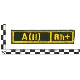 """Stripe with the blood type """"A(II) Rh+"""", with velcro, Olive RipStop"""