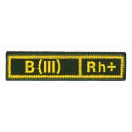 """Naszywka na pierś - grupa krwi """"B(III) Rh+"""", z rzepem, oliwa RipStop"""