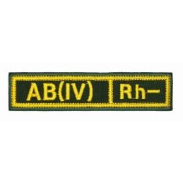 """Naszywka na pierś - grupa krwi """"AB(IV) Rh-"""", z rzepem, oliwa RipStop"""