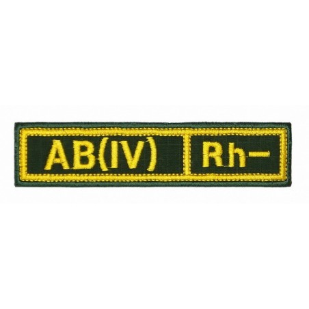 """Stripe with the blood type """"AB(IV) Rh-"""", with velcro, Olive RipStop"""
