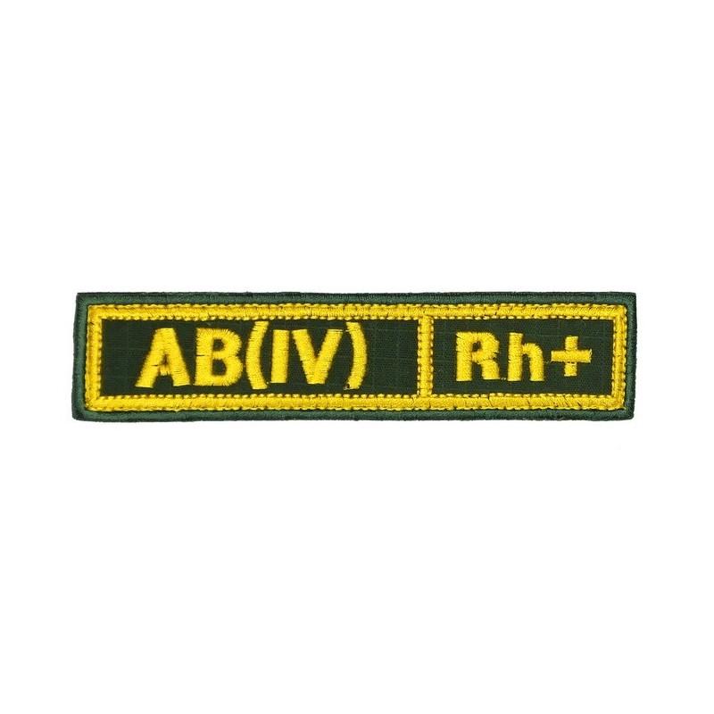 """Naszywka na pierś - grupa krwi """"AB(IV) Rh+"""", z rzepem, oliwa RipStop"""