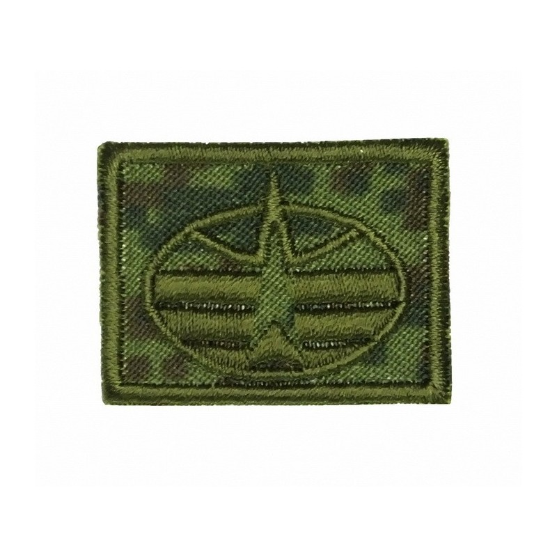 Collar tabs of Air-Cosmic Forces, on velcro, field, Digital Flora background, embroided