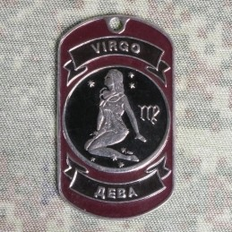 Steel dog-tags Virgo, enamel