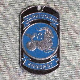Steel dog-tags Capricorn, enamel