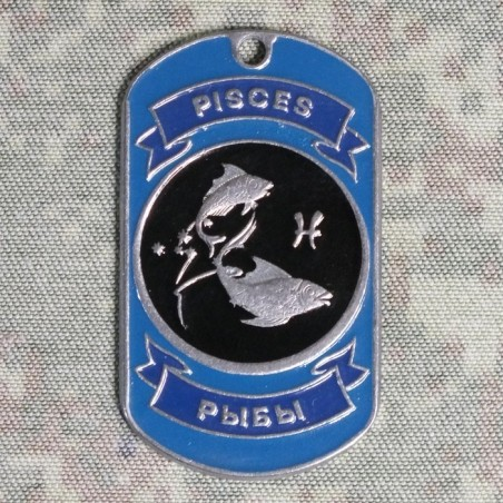 Steel dog-tags Pisces, enamel