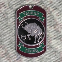 Steel dog-tags Taurus, enamel