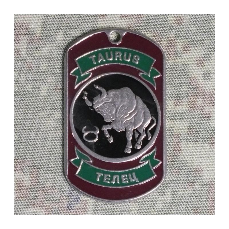 Steel dog-tags Taurus, enamel