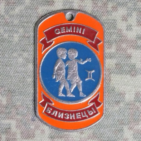 Steel dog-tags Gemini, enamel