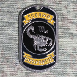Steel dog-tags Scorpio, enamel
