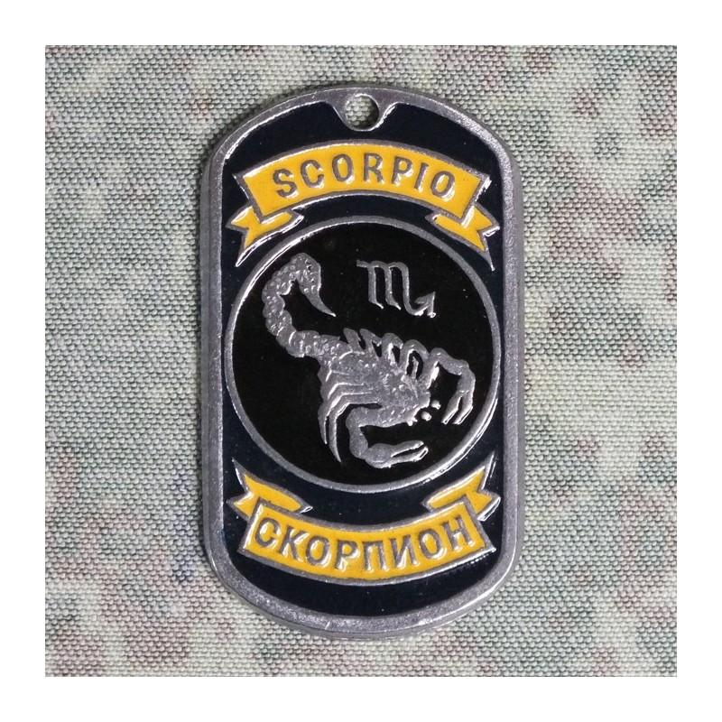 Stalowy Nieśmiertelnik-Skorpion emaliowany