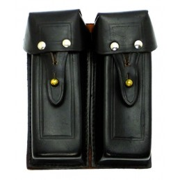 Pouch for 4 APS (Stiechkin) magazines, leather, black
