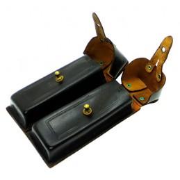 Ładownica na 4 magazynki do pistoletu Steiczkina (APS), skórzana, czarna