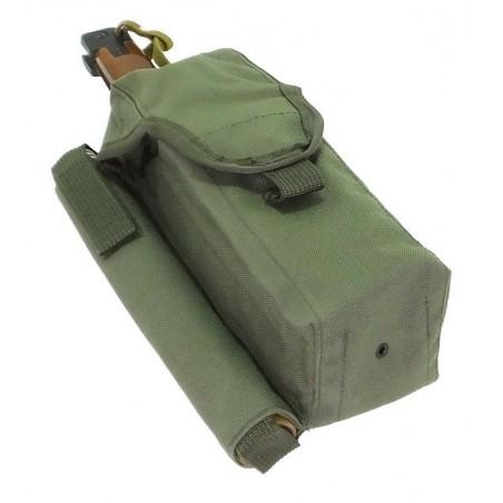 TI-P-2AK-ROPNP Ładownica na 2 magazynki AK, flarę i nóż, prawa, zielona
