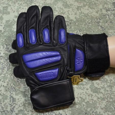 RZ Skórzane rękawiczki Stalkerskie, czarno-niebieskie