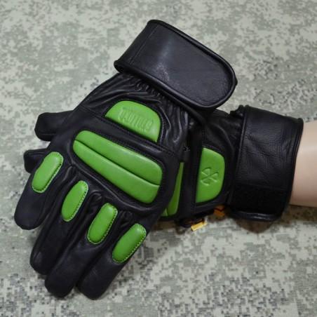 RZ Skórzane rękawiczki Stalkerskie, czarno-zielone