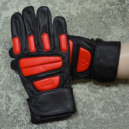RZ Skórzane rękawiczki Stalkerskie, czarno-czerwone