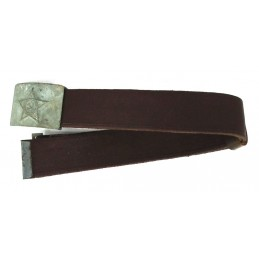 Leather-like belt with gray buckle