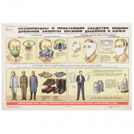 """Plakat: Obrona Cywilna 08 - """"Respiratory i proste środki ochrony dróg oddechowych i skóry"""""""