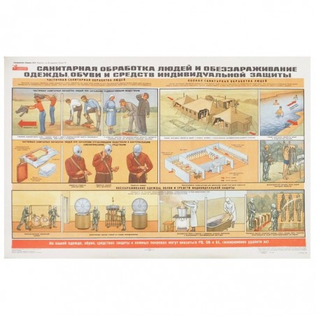 """Poster: Civil Defence 15 - """"The first aid and disinfecting clothes and protection measures"""""""
