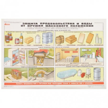 """Poster: Civil Defence 17 - """"Protection of food and water against the weapon of mass destruction"""""""