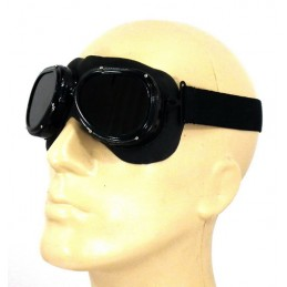 Safety goggles, dark lenses, with holder, officer model