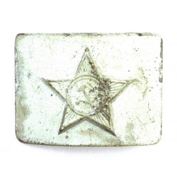 Belt buckle with a star, steel, painted grey